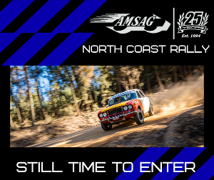 Two weeks tomorrow until the North Coast Rally, stages hand picked Nathan Quinn himself. Make sure you don't miss out. Entries will close Monday 2nd November. A reminder to all entrants your Scrutineering must be completed by Tuesday 3rd November with your scrutineering form emailed to docco@amsag.com.au by no later than 6:00pm.
